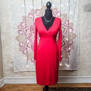 Be Smart Red V-Neck Midi Sexy Dress